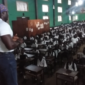 speaking to a school